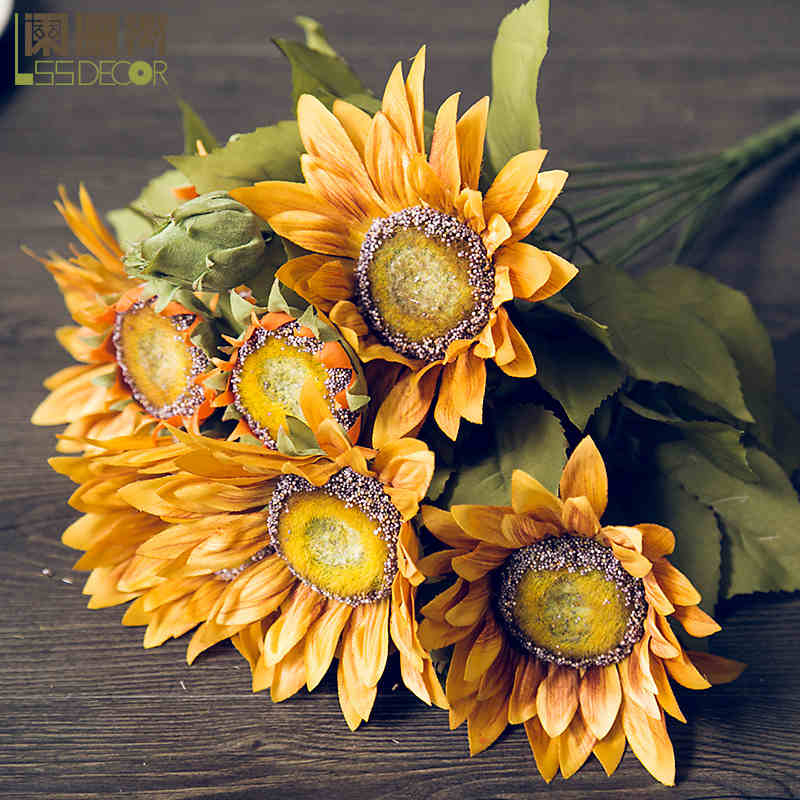 Buy waning tree vintage oil painting effect to bundle european buy waning tree vintage oil painting effect to bundle european pastoral simulation flower silk flower artificial flowers sunflowers in cheap price on mightylinksfo