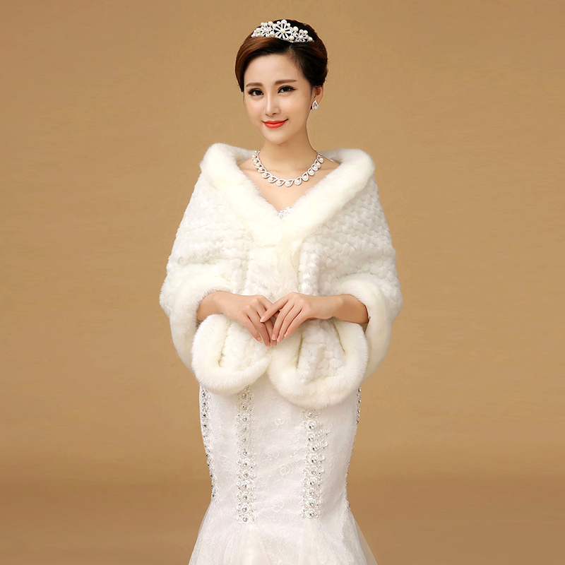 Buy Wedding Dress Winter Fashion Coat Models Bride Bridesmaid Shawl Accessories White In Cheap Price On