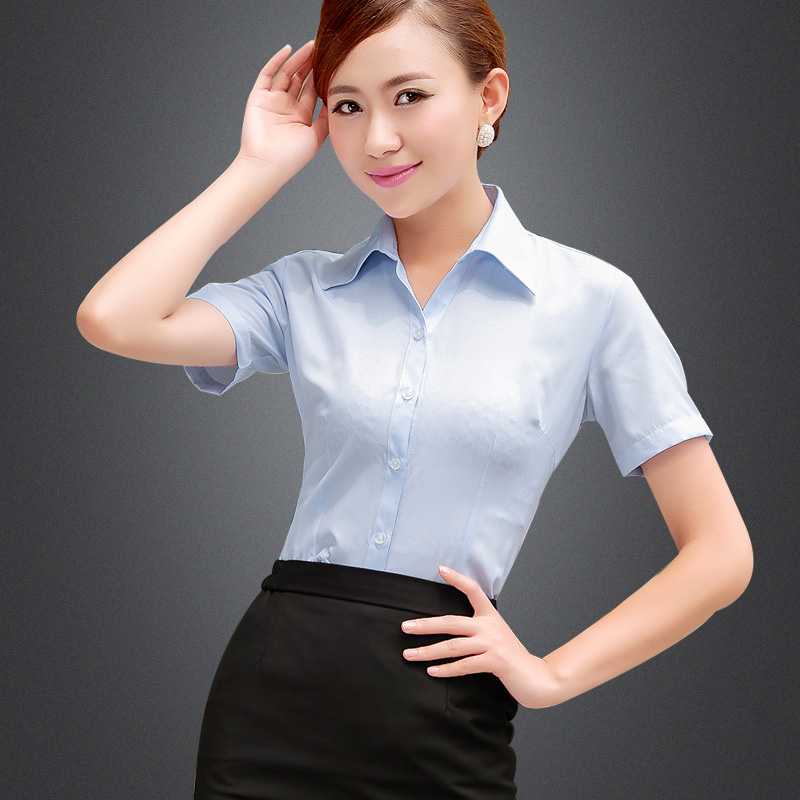 9aa99a6a6dd Buy White shirt women wear short sleeve striped summer blue and white shirt  female slim ol dress overalls tooling inch shirt in Cheap Price on  m.alibaba.com