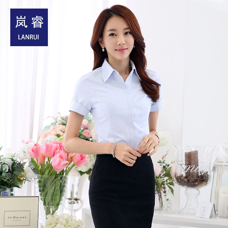 27eacf34e89 Women wear dresses summer cotton short sleeve white shirt female korean  version of slim shirt tooling work clothes women dress
