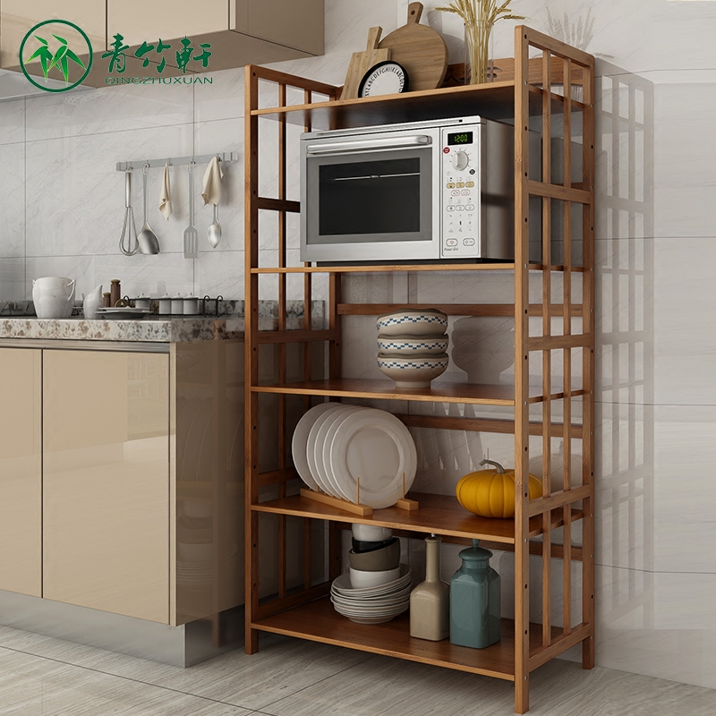 Xuan Bamboo Cheap Bamboo Multilayer Solid Wood Shelf Microwave Oven Shelf  Kitchen Shelf Reinforcement Storage Center Rack Specials