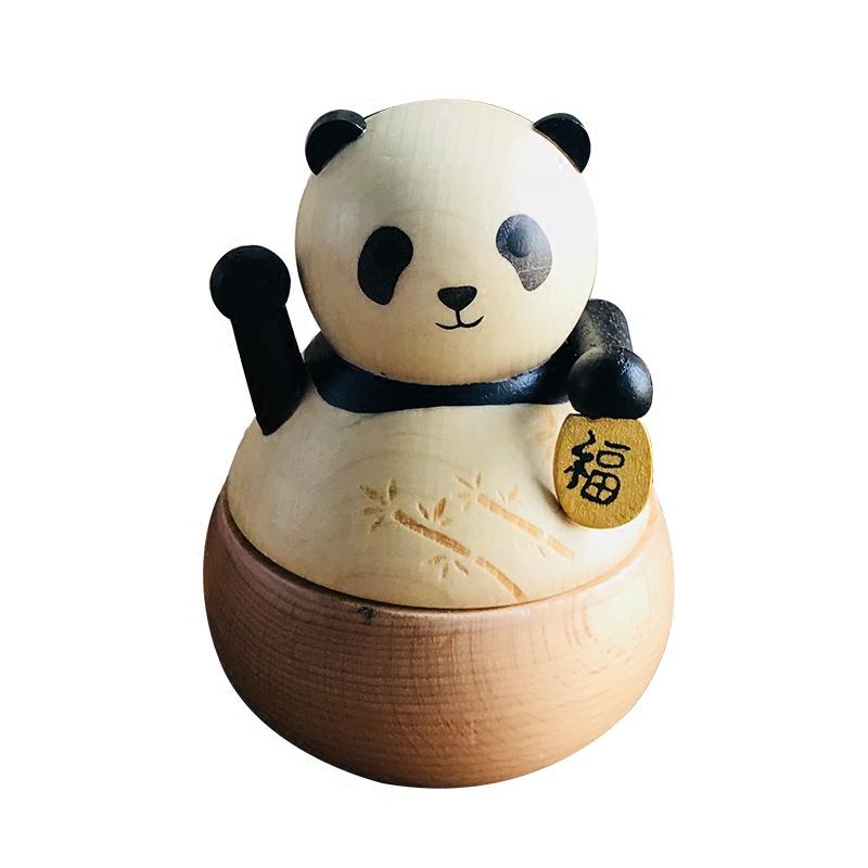 可爱小熊猫咪音乐盒八音盒旋转木质卡农生日礼物情人节送女生儿童
