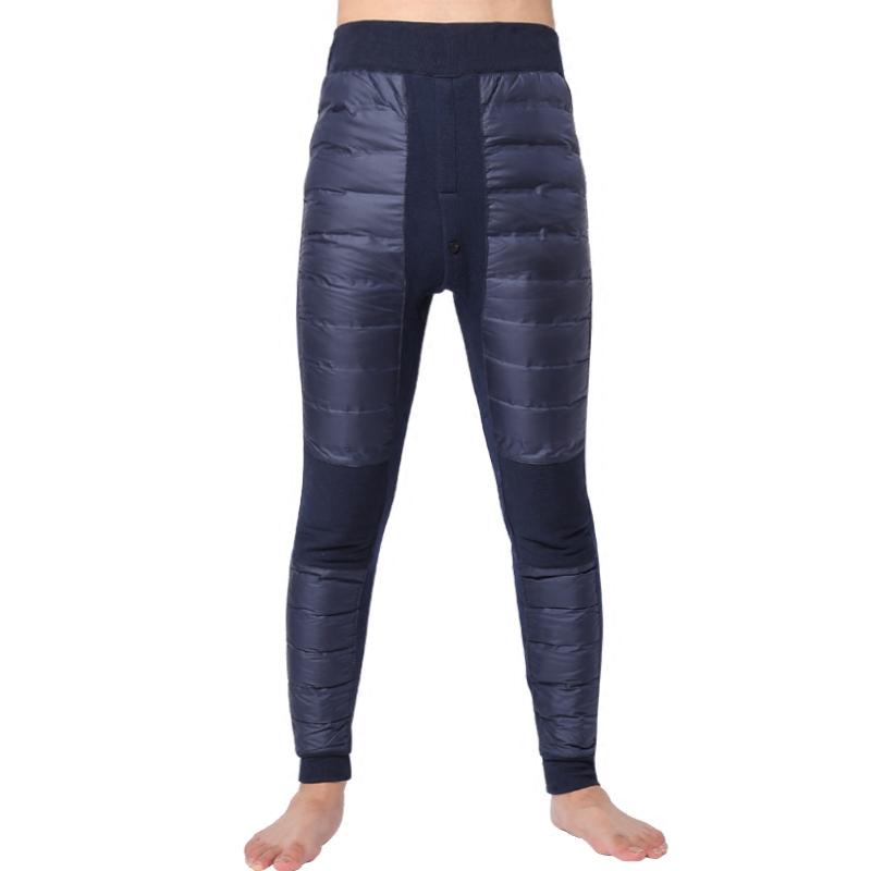 白鸭绒棉裤加绒加厚护膝保暖裤 90 恒源祥正品羽绒裤男内穿修身