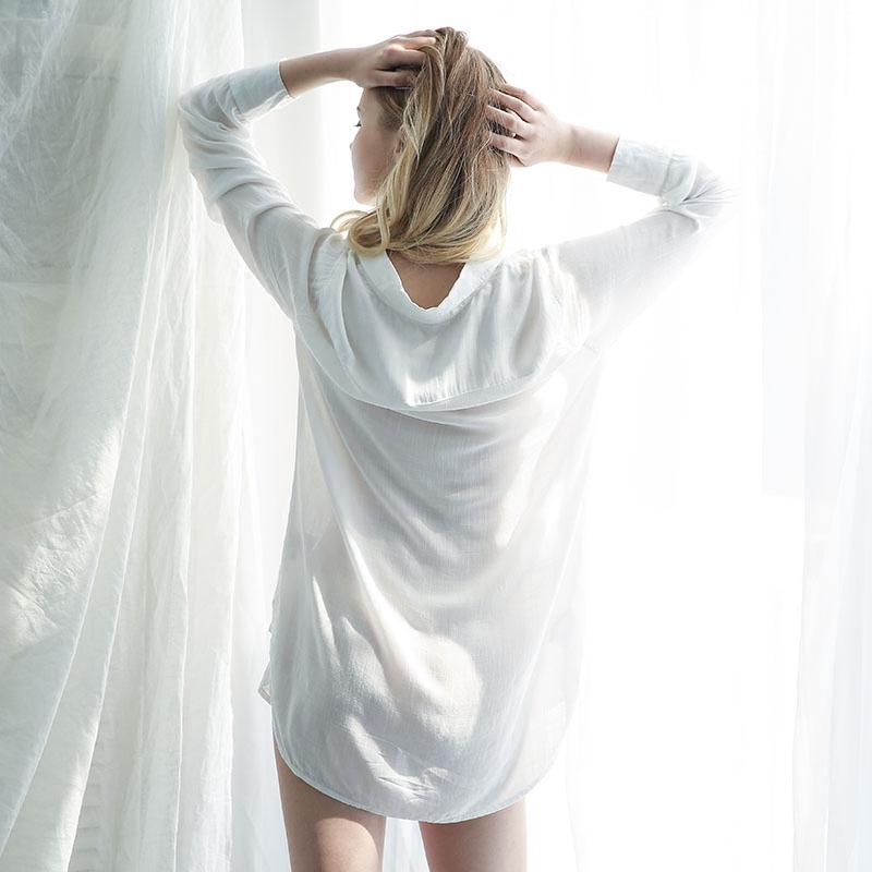 未满性感睡衣女夏薄款睡裙透视骚男朋友白衬衫诱惑家居服火辣情趣