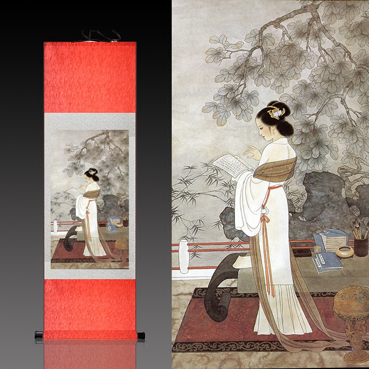仿古卷轴定制丝绸壁画丝绸国画卷轴画仕女读书学院办公室装饰挂画