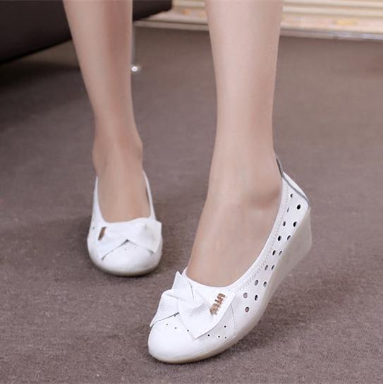 白色護士鞋真皮牛筋底坡跟軟底舒適透氣美容師鞋女醫院工作鞋春夏