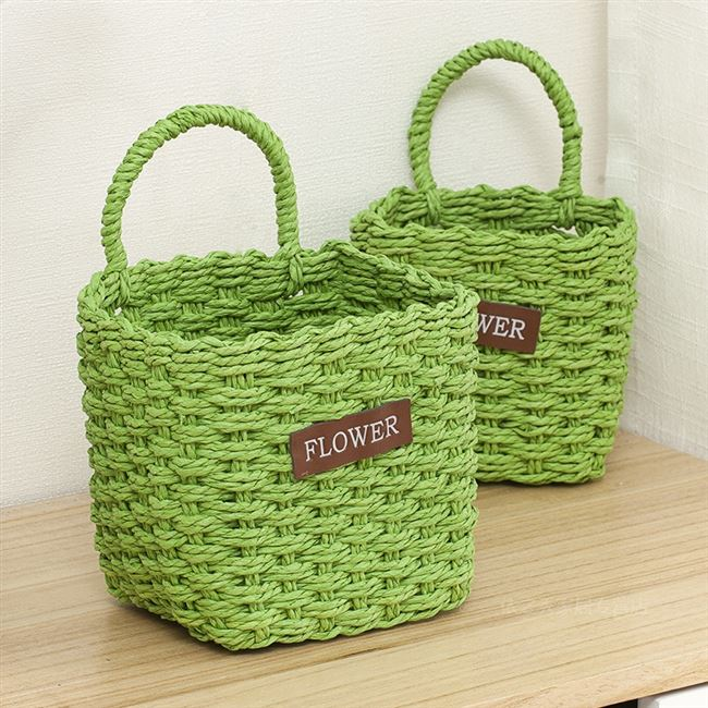 Dormitory bathroom hanging basket storage basket bedside phone keys remote control handset debris basket weaving baskets Wall