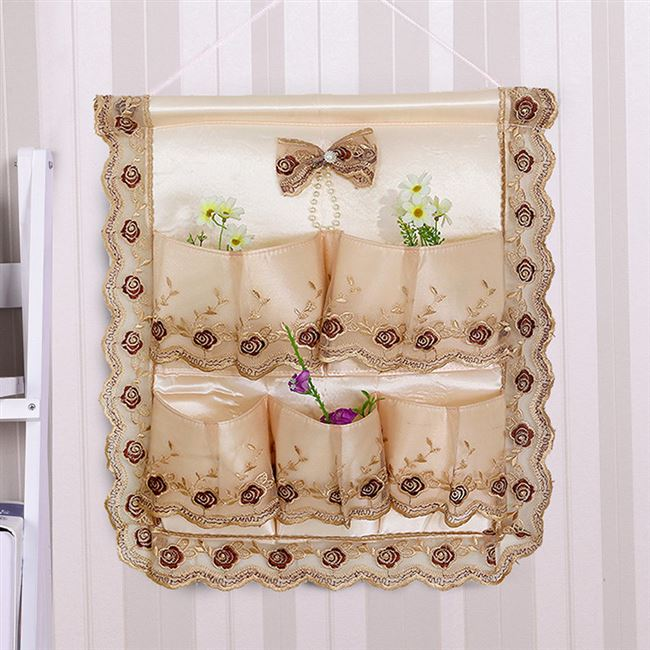 After a decorative lace fabric pouch wall hang the bag hanging hung door pocket storage bags hand glove whole wardrobe