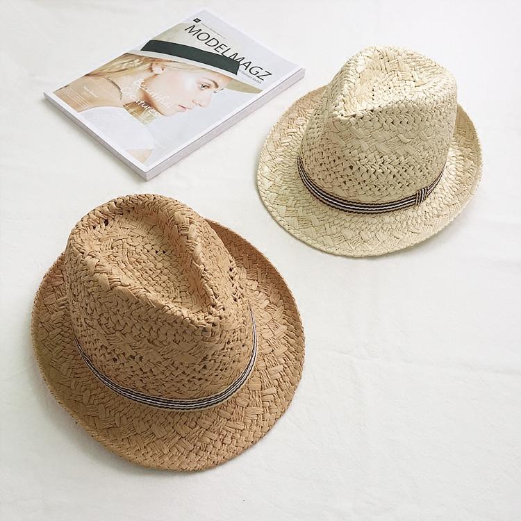 韓國拉菲草手工編織草帽男女百搭可摺疊夏天遮陽帽子街頭時尚禮帽