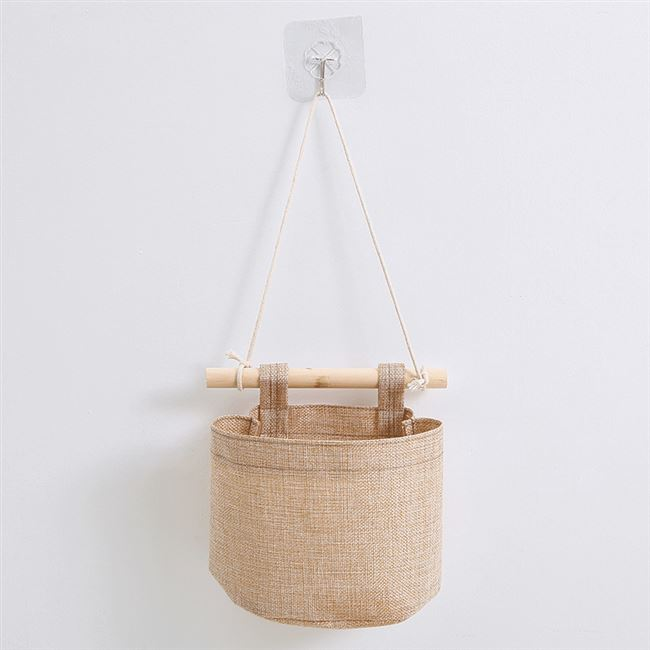 A cloth pouch debris feed + beech stick hook to hang the bag cotton small door hanging wall hanging pocket 1
