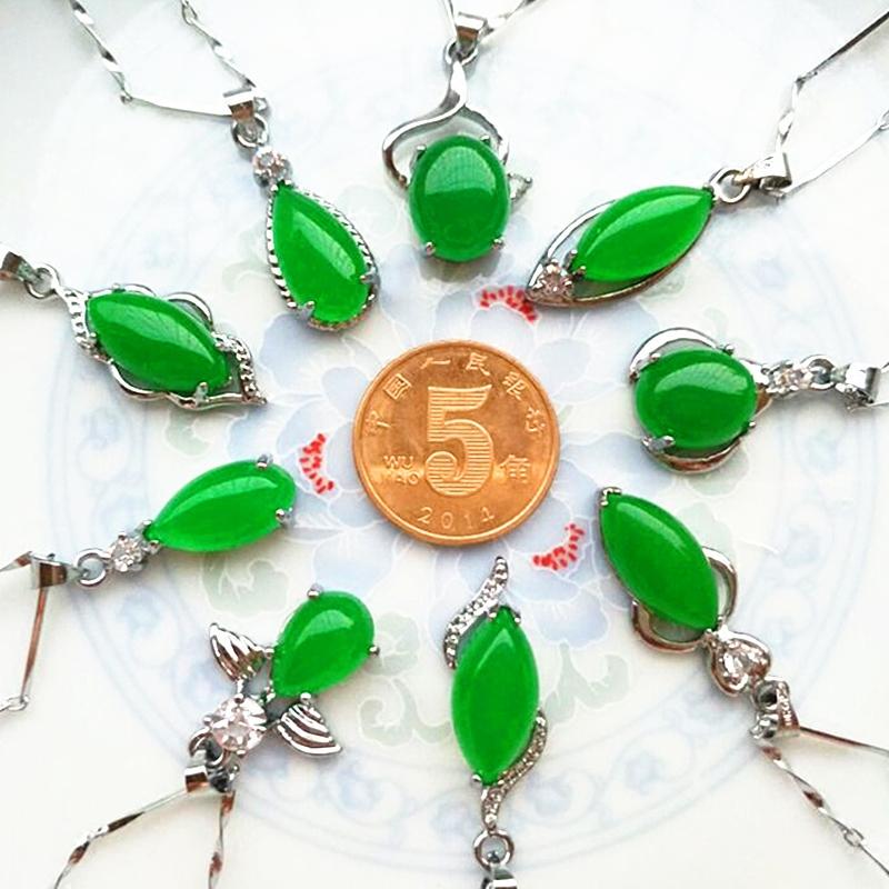 天然正品玉吊坠镶钻转运珠绿宝石玉石坠子项链女款锁骨链挂件颈饰