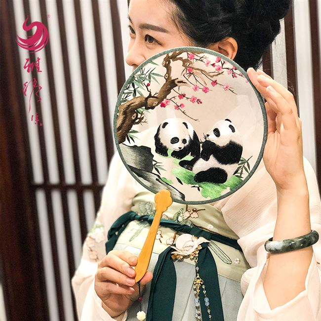 Overseas Chinese clothing embroidery fan round fan Antique hand embroidery sided embroidery Chinese wind gift custom gift TuanShan