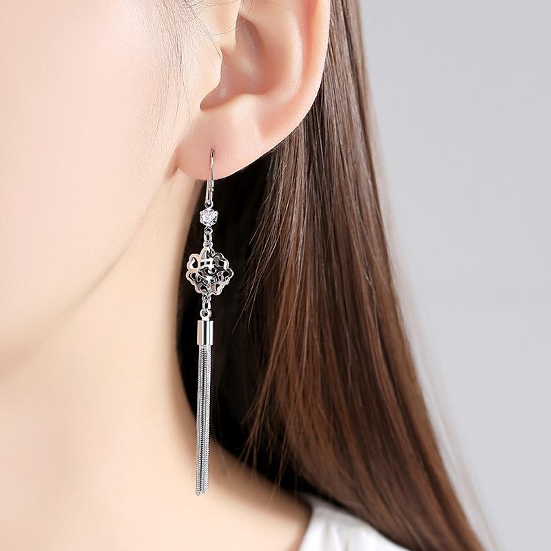 莎小姐 银时尚耳环女日韩气质贝珍珠镶钻精美耳钉简约银耳饰品  s925