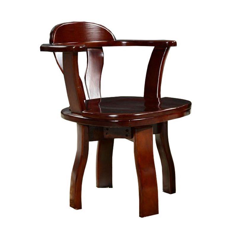 实木转椅家用办公电脑椅子学生书房旋转扶手靠背麻将座椅简约餐椅