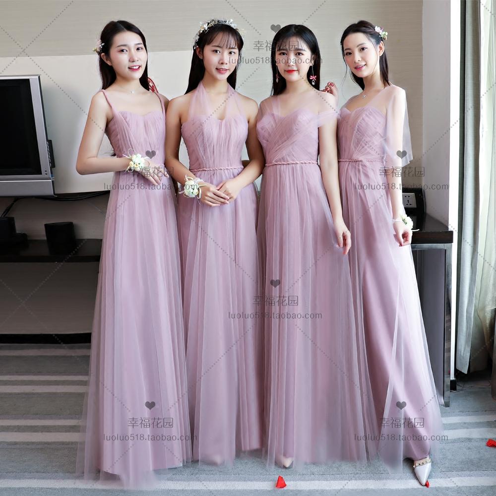 伴娘服长款粉紫色2018秋冬一字肩伴娘团姐妹连衣裙年会晚宴礼服裙