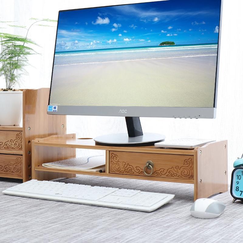 楠竹电脑显示器增高架子实木屏幕底座办公桌面收纳盒键盘置物托架