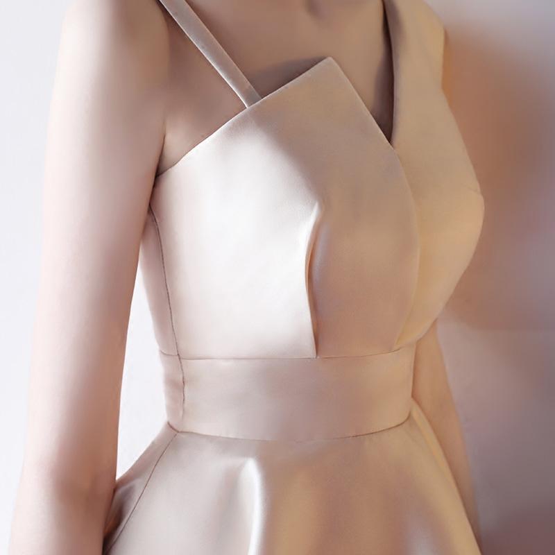 气场女王平时可穿短款小个子气质名媛宴会大码伴娘晚礼服连衣裙女