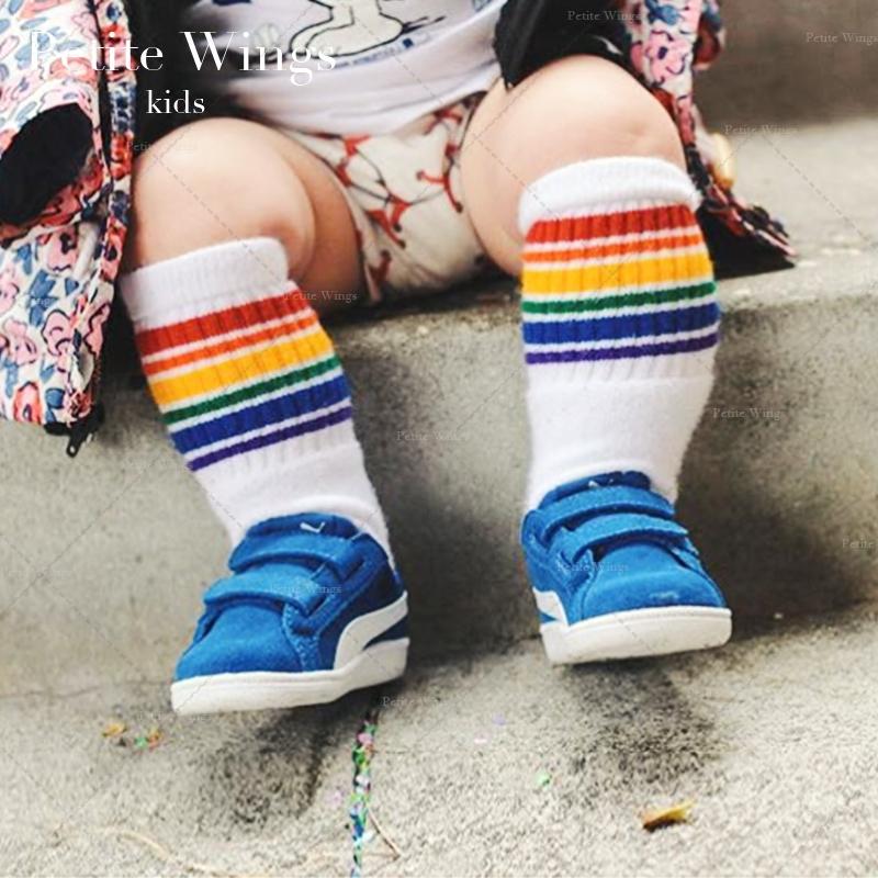 美國Pride Socks嬰兒襪子秋冬兒童棉襪厚條紋保暖中筒寶寶彩虹襪