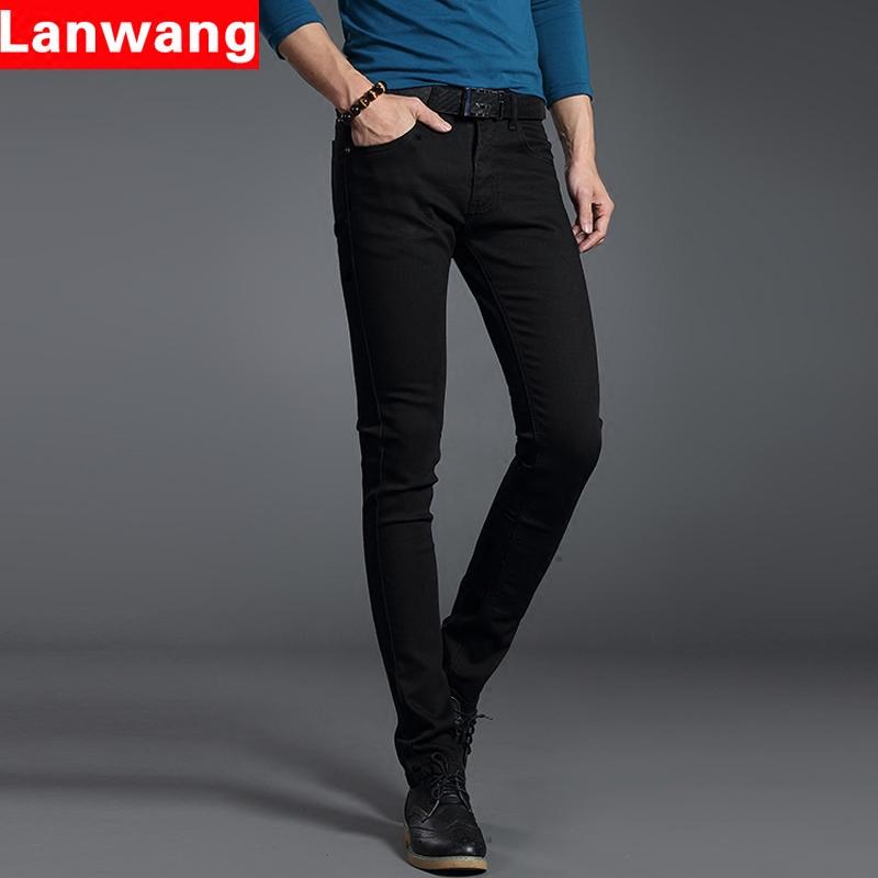 秋季新款原色弹力男士牛仔裤韩版修身小脚休闲裤青少年长裤黑色
