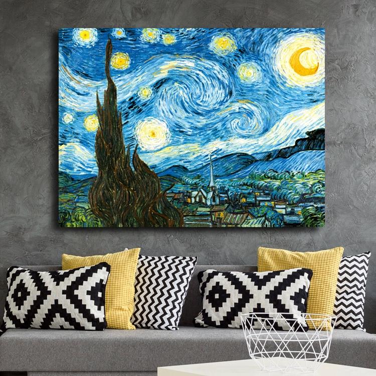 梵高星夜星月夜星空下的羅納河無框畫現代裝飾畫客廳臥室掛墻畫