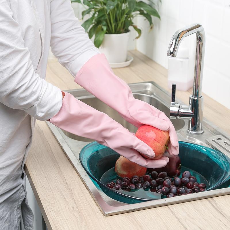 日本做家务手套洗碗橡胶女薄款小号夏天衣服塑胶夏季防水洗衣专用