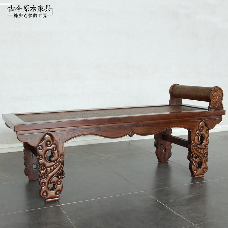 东南亚风格家具实木贵妃榻长凳古今BD082-8中式老榆木藤席贵妃榻