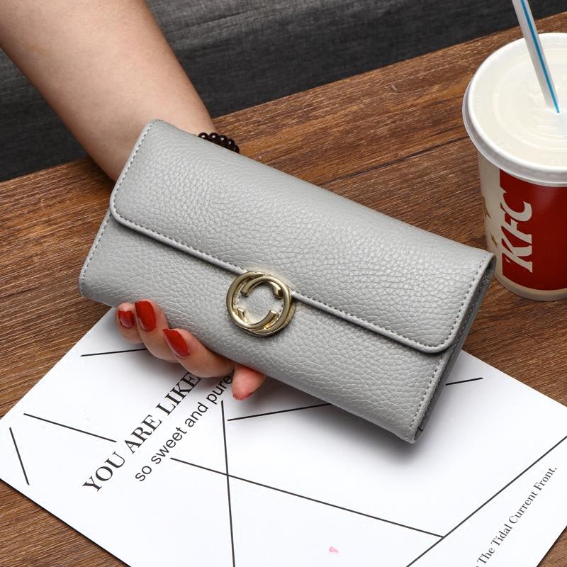 欧美2018新款钱包女长款三折搭扣多卡位手拿包复古皮夹零钱包卡包
