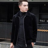 Autumn and winter clothing fur one sheep shearing men's jacket short Korean lapel fur coat leather leather men