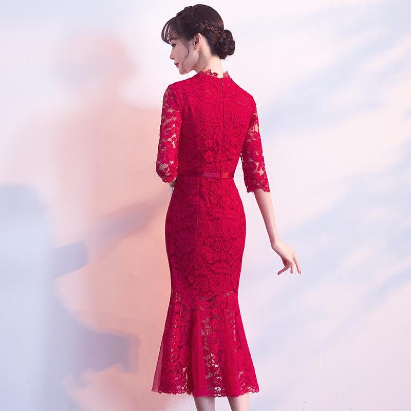 新娘敬酒服旗袍2019春款红色蕾丝鱼尾现代结婚回门礼服裙少女夏款