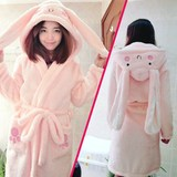 Cartoon pajamas women's autumn and winter new large size flannel robe coral fleece bathrobe cute couple home service thickening