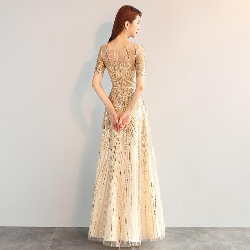 晚礼服2019新款宴会大合唱团演出服礼服女长款晚宴主持人礼服显瘦