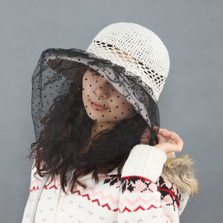 fad9ea7a32e05 Sheng and ethical ms. summer hat uv sun hat large brimmed sun hat veil  sunbonnet anti insects hit the eye
