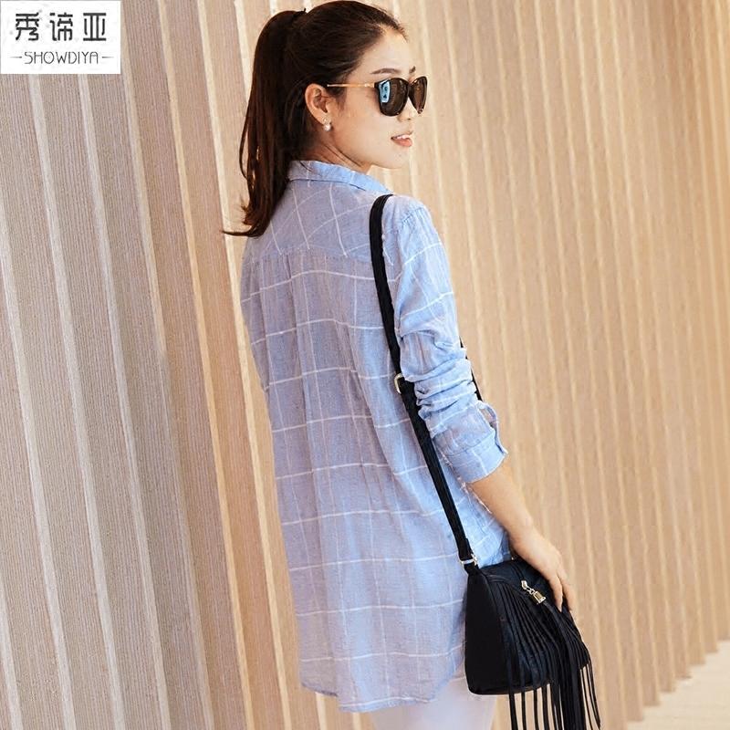 2019新款春秋格子衬衫女设计感小众中长款长袖上衣宽松女士衬衣薄