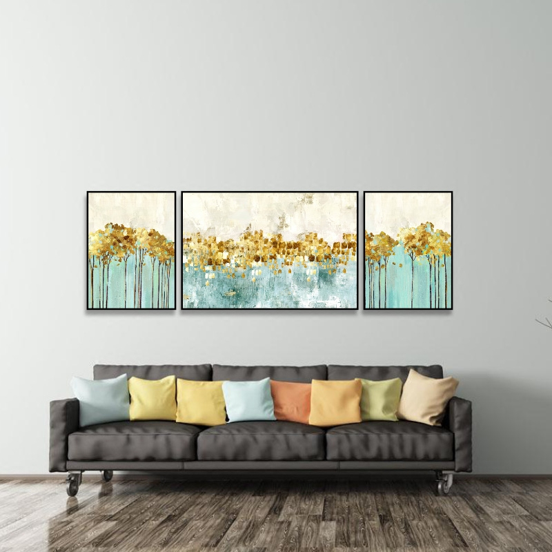 金色梦幻 北欧风格现代简约抽象三联组合纯手绘油画 客厅大幅挂画