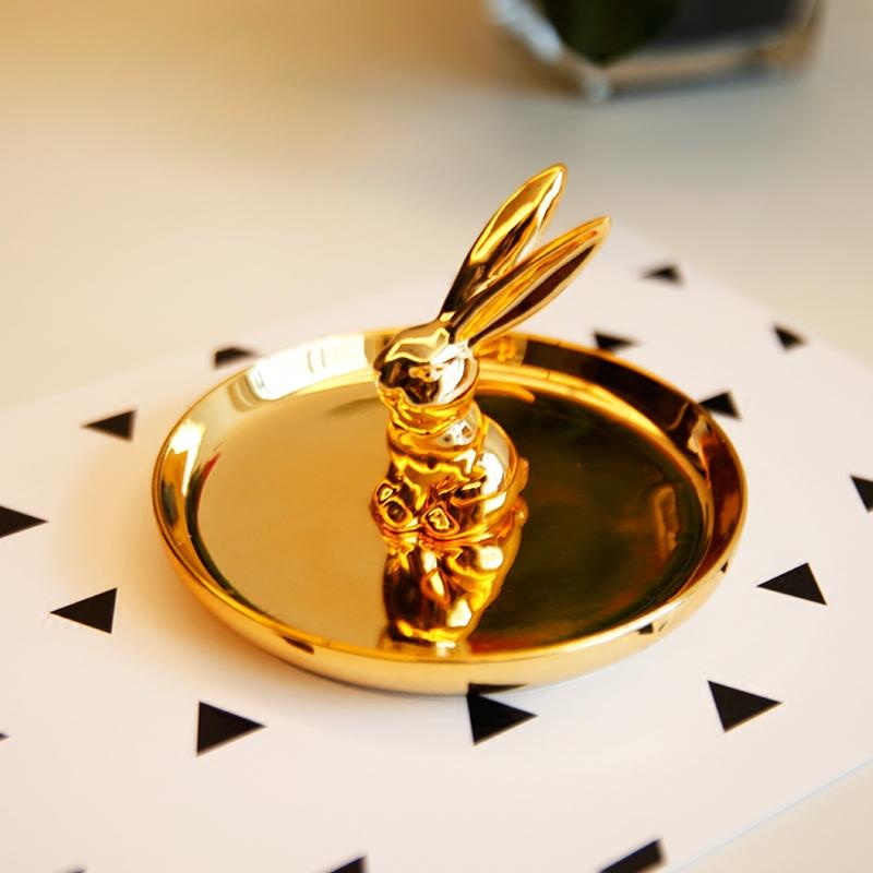 出口欧美奢华金色陶瓷兔子首饰收纳盘桌面卫浴戒指托首饰架 包邮