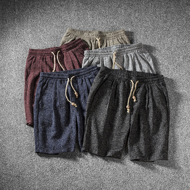 日系古着亚麻男士复古修身沙滩裤男韩版休闲学院风短裤男五分中裤