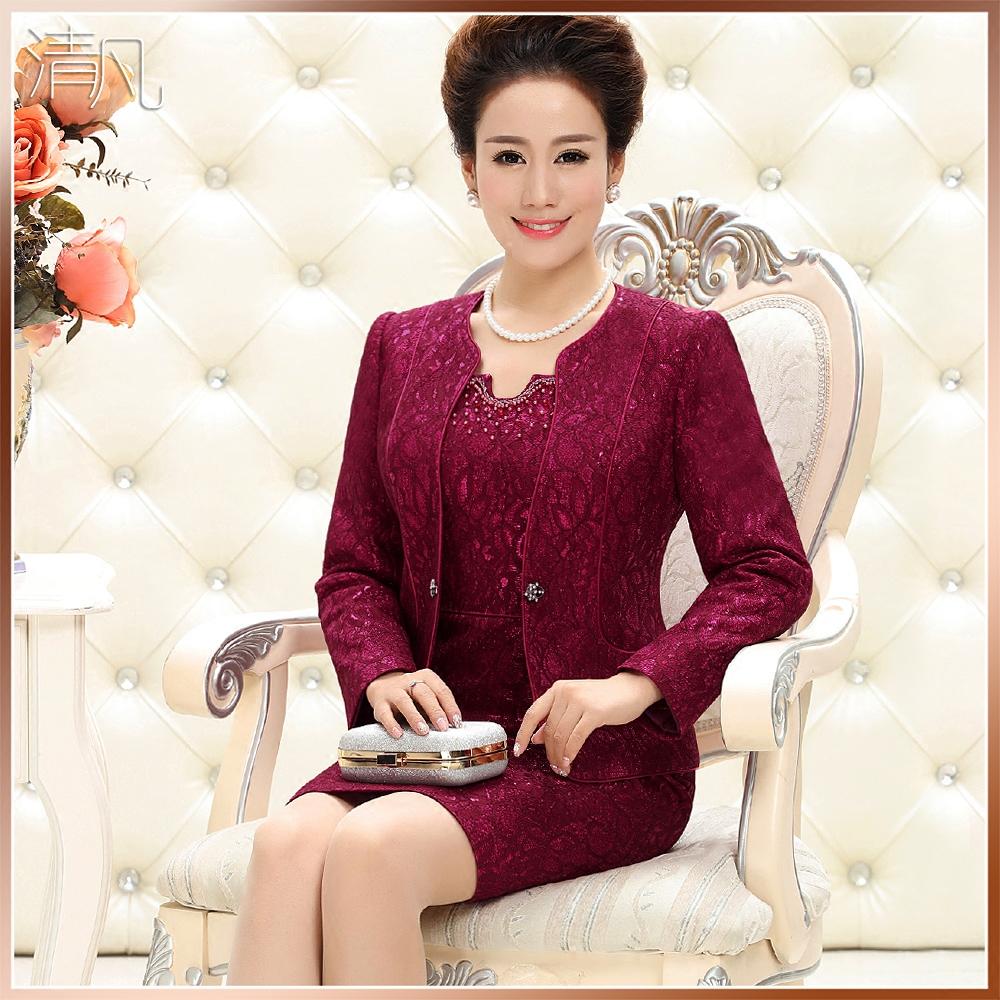 清凡婚礼妈妈装高端春装两件套装新款婚宴婆婆礼服紫红色中老年女