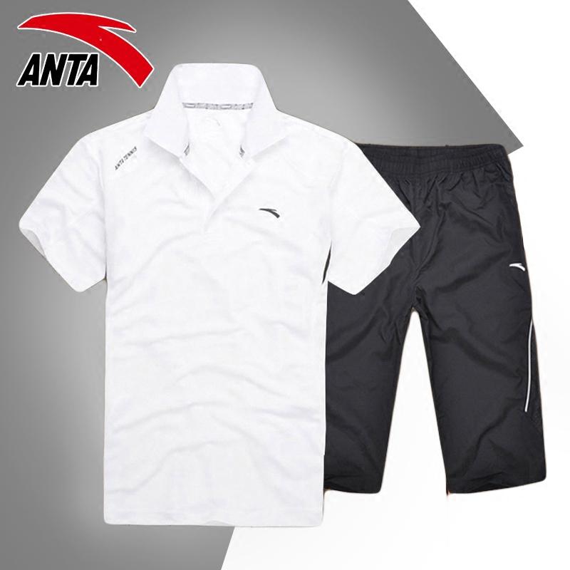 安踏运动套装男装运动服跑步服夏季新款翻领圆领短袖七分裤两件套