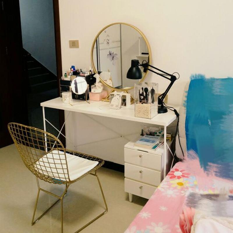 北欧铁艺金色圆形化妆镜壁挂酒店洗手间浴室镜子影楼梳妆镜台包邮