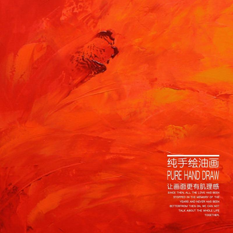 美式玄关装饰画手绘抽象油画客厅餐厅壁画单幅红色油画鸿运当头