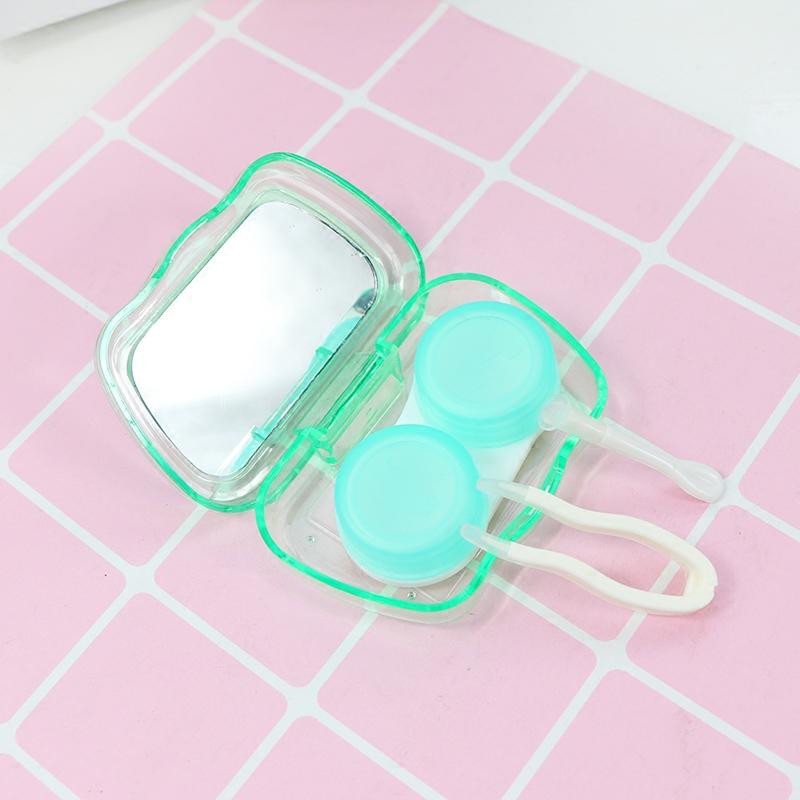 便携隐形眼镜盒卡通可爱美瞳盒子伴侣盒护理盒双联盒近视盒带镜子