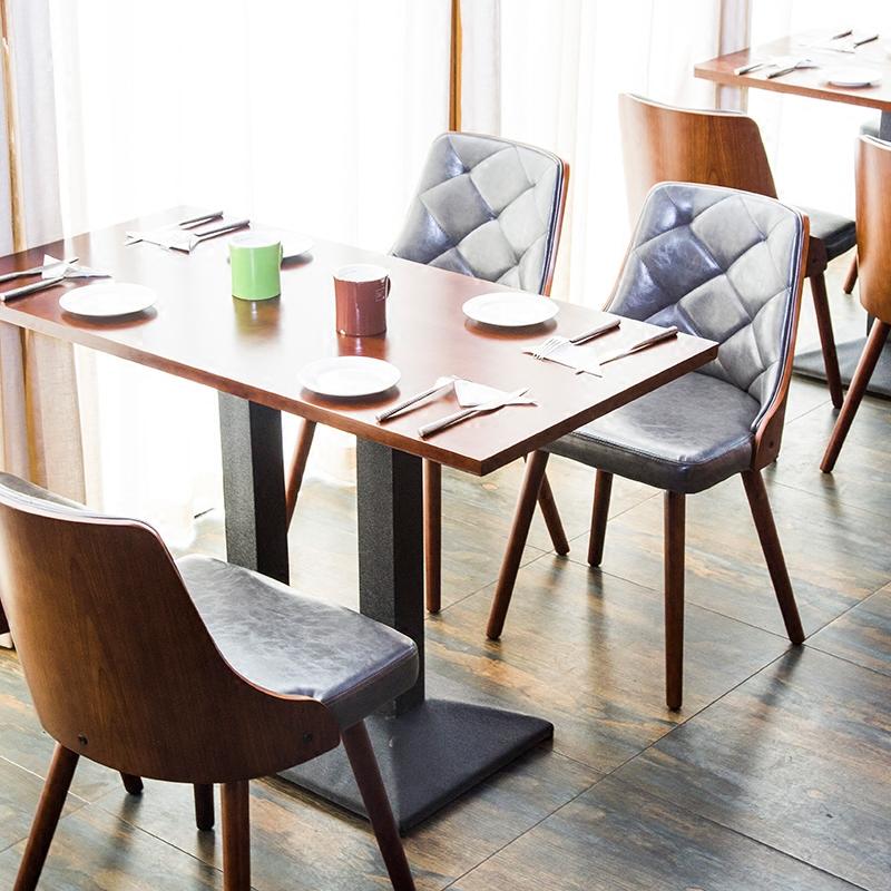 咖啡厅奶茶店西餐厅快餐桌椅组合套件简约餐厅椅实木甜品店餐台椅