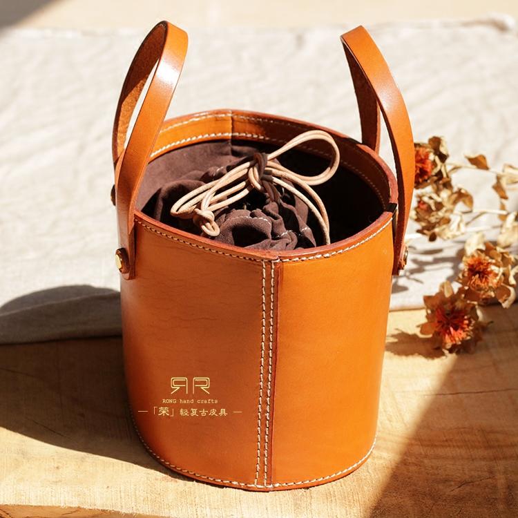 日式轻复古手工真皮水桶包植鞣皮手拎女包文艺范定制牛皮手提包女