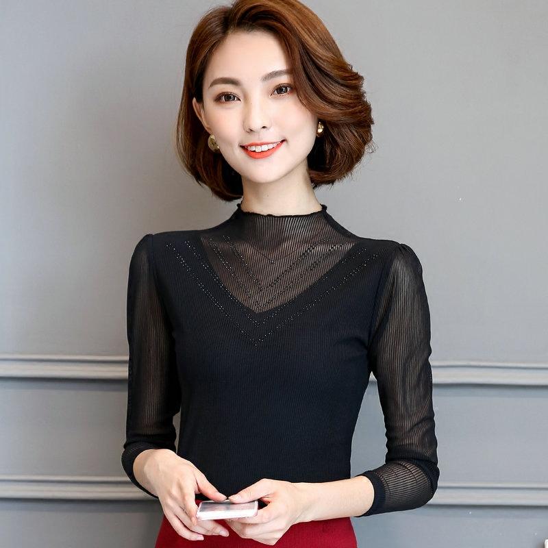 恤百搭网纱外穿秋衣上衣 T 春装蕾丝打底衫女长袖新款韩版修身 2020