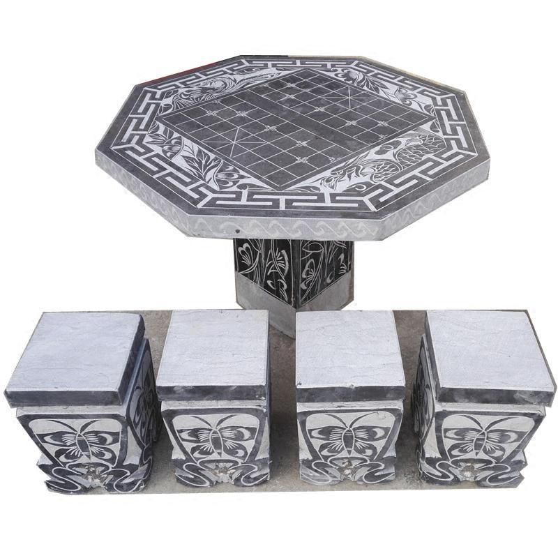 石头桌子石凳子椅子石雕圆桌青石花岗岩棋盘户外石桌公园庭院家用