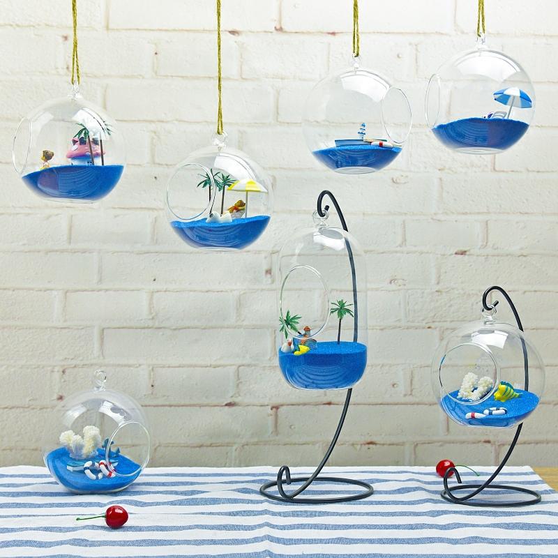創意DIY地中海微景觀玻璃罩擺件家居飾品玻璃吊球兒童禮物擺飾