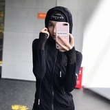 Sexy Fitness coat female quick-drying long-sleeved hooded tracksuit jacket jogging yoga stretch T-shirt Slim autumn and winter