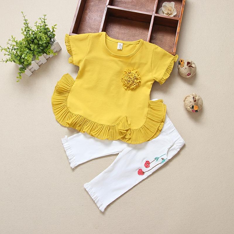 女童夏装套装2019新款儿童装纯棉中小童夏季T恤+裤子两件套衣服潮