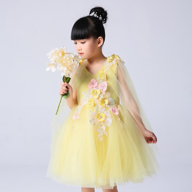 儿童礼服黄色公主裙女童婚纱蓬蓬裙钢琴生日演出服花仙子花童礼服