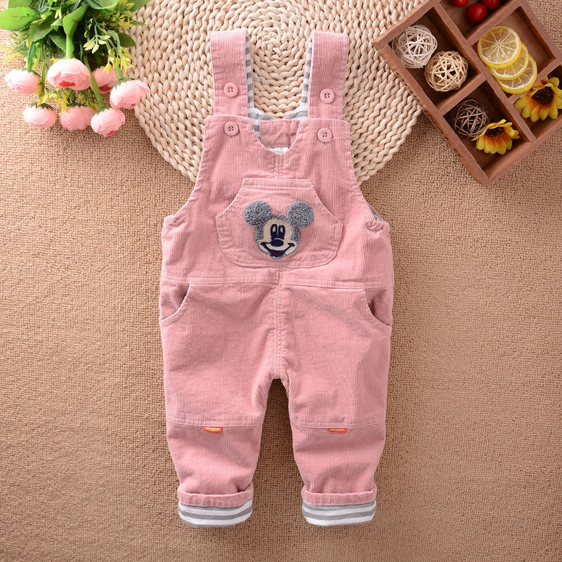小童背带裤女宝宝春秋双层保暖可开档条绒秋装0-1一3岁婴儿护肚裤